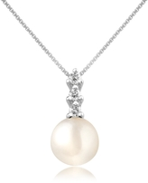 Forzieri Diamond and Pearl Pendant 18K Gold Necklace