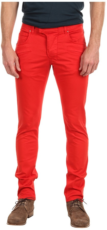 Balmain Pierre Skinny Fit Stretch Low Waist Jean (Red) - Apparel