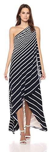 Halston Women's One Shoulder Printed Wrap Gown