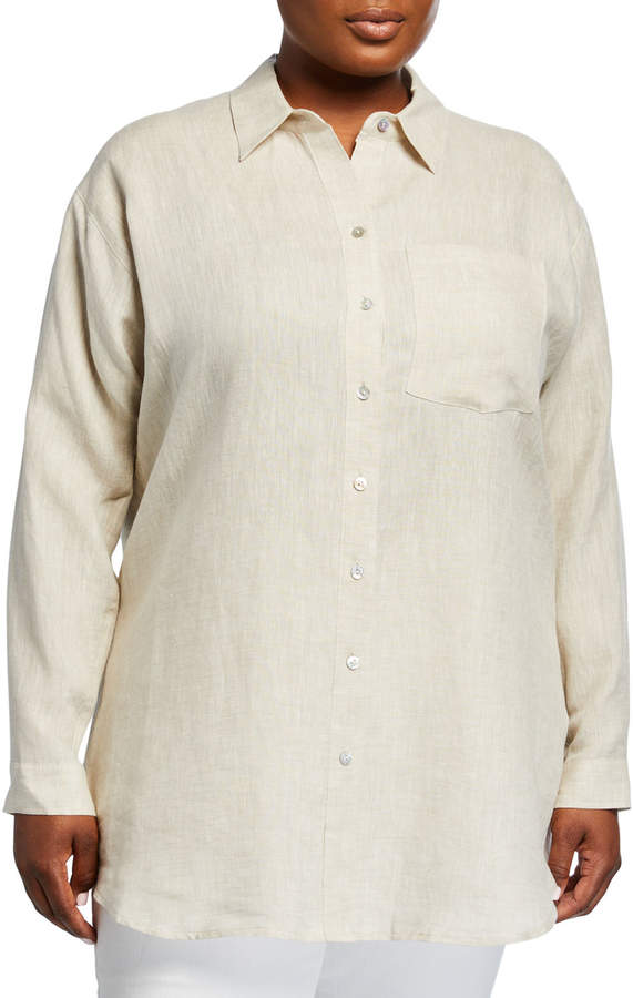 a6c9f44fd1a Plus Size Linen Long-Sleeve Top