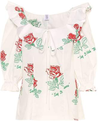 Rosie Assoulin Floral printed cotton blouse