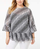 MICHAEL Michael Kors Size Printed Bell-Sleeve Blouse
