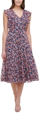 Tommy Hilfiger Petite Gansette Ruffled Floral-Print Dress