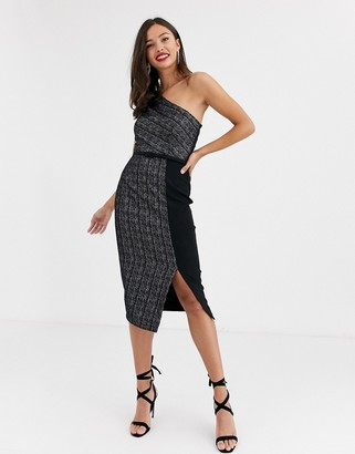 Paper Dolls one shoulder belted glitter stripe midi dress with slit in charcoal