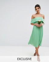 TFNC Wedding Bardot Midi Dress With Pleated Skirt And Embellished Waist