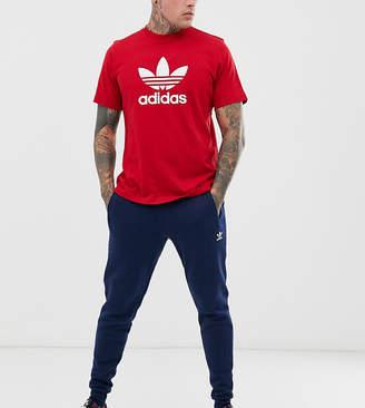 adidas slim fleece pant in blue