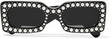Gucci Embellished Square-frame Acetate Sunglasses - Black