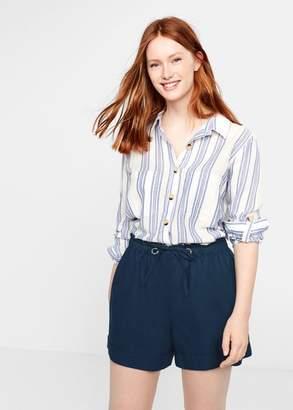 MANGO Violeta BY Linen shorts beige - L - Plus sizes