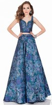 Terani Couture Two Piece Floral Brocade Evening Dress