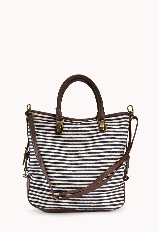 Forever 21 Nautical Stripped Faux Leather Tote