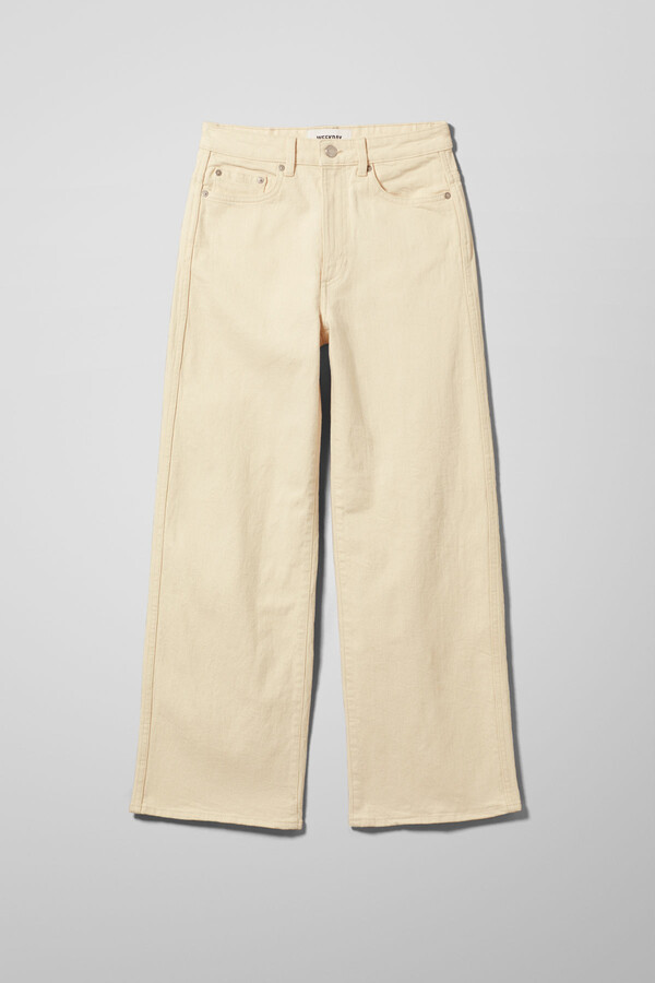 Thumbnail for your product : Weekday Veer High Wide Jeans - Beige