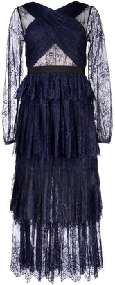 Self-Portrait Self Portrait Layered Sheer Lace Midi Dress