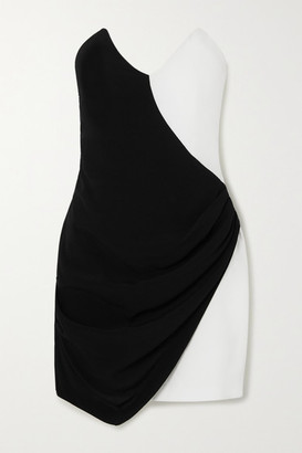 De La Vali Dallas Two-tone Strapless Crepe Mini Dress - Black