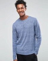 Asos Grandad Neck Jumper In Blue Twist Cotton