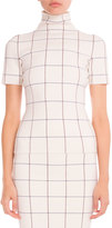Victoria Beckham Windowpane Check Mock-Neck Top, Multi