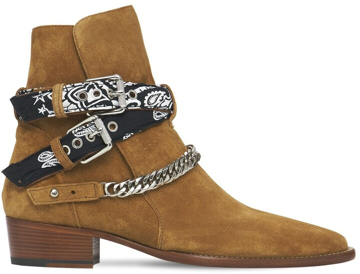 Amiri Bandana Suede Buckle Boots