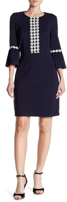 Nanette Lepore 3/4 Length Sleeve Ruffle Cuff Fitted Dress