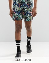 Reclaimed Vintage Festival Shorts In Tropical Print