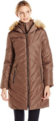 Jones New York Women's Chevron Down Coat with Faux Fur Trim Hood - Update To LY