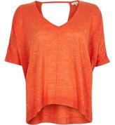 River Island Womens Orange slub linen-blend t-shirt