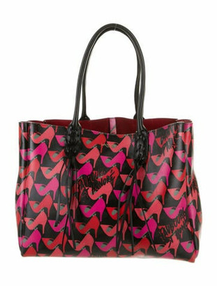 Lanvin Shoe Print Shopper Tote Red