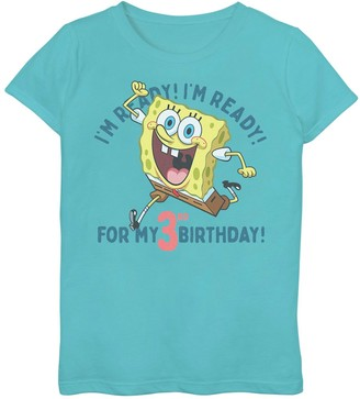 SpongeBob Squarepants Licensed Character Girls 7-16 Ready For My 3rd Birthday Tee