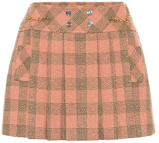 Gucci Pleated damier wool miniskirt