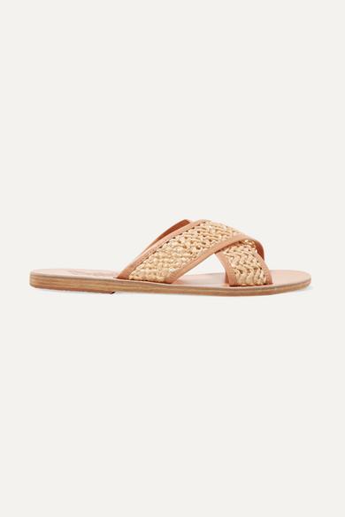 Ancient Greek Sandals Thais Woven Raffia And Leather Slides - Neutral