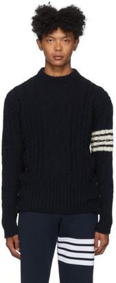 Thom Browne Navy Aran Cable 4-Bar Sweater