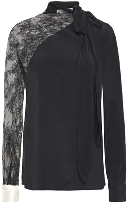 Philosophy di Lorenzo Serafini Bow-detailed Lace-paneled Crepe De Chine Blouse