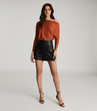 Reiss SIENNA METALLIC STRAIGHT NECK BODYSUIT Rust