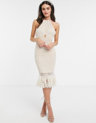 ASOS DESIGN Luxe high neck pearl embellished midi dress with feather hem in beige
