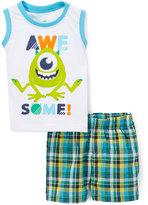 Children's Apparel Network Monsters Inc. White Tank & Plaid Shorts - Infant