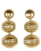 Josie Natori Gold Brass Double Cage Earrings