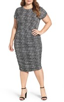 Vince Camuto Plus Size Women's Pebble Print Ruched Dress