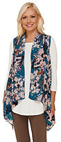 As Is LOGO by Lori Goldstein Open Front Knit Vest with Printed Chiffon