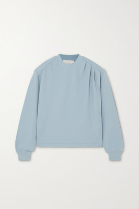 REMAIN Birger Christensen Rimini Gathered Cotton-jersey Sweatshirt - Blue
