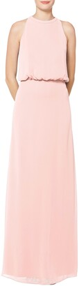 #Levkoff Halter Neck Blouson Bodice Chiffon Evening Gown