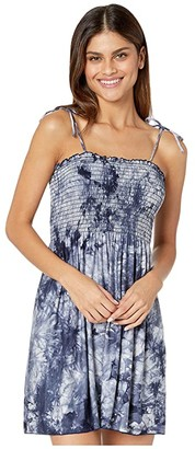 Becca by Rebecca Virtue Tide Pool Tie-Dye Convertible Dress/Skirt Cover-Up (Navy) Women's Swimwear