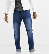 Duke tall jeans with rip and repair detail in blue stone wash
