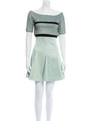 J. Mendel Short Sleeve Mini Dress green