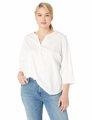 NYDJ Women's Plus Size Henley Popover