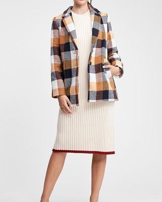 Express En Saison Plaid Button Front Wool Tailored Coat