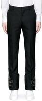 Alexander McQueen Floral crest appliqué pinstripe pants