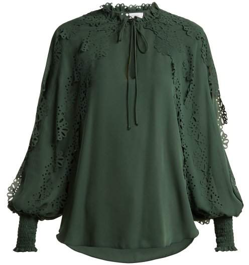 See by Chloe Ruffled Trim Georgette Blouse - Womens - Dark Green