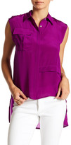 Line & Dot Woven Pocket Hi-Lo Silk Tank