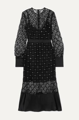David Koma Satin-trimmed Crystal-embellished Flocked Tulle Midi Dress - Black
