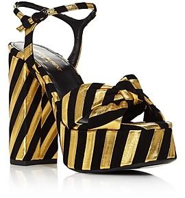 Saint Laurent Women's Bianca Striped High-Heel Platform Sandals