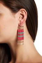 Steve Madden Bead Detail Fringe Front & Back Earrings