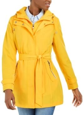 Nautica Hooded Belted Water-Resistant Raincoat
